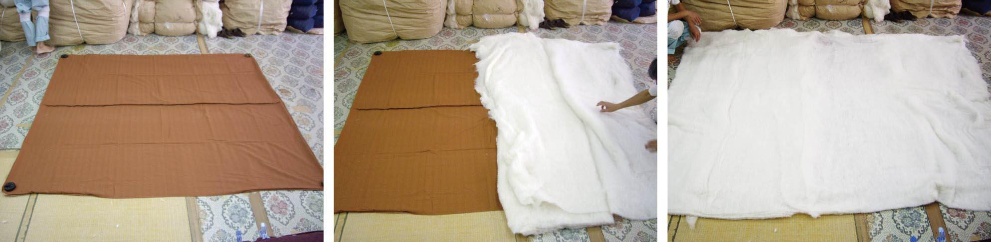 布団は京都の職人による、オーダーメイドです。